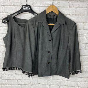 Windsor Set Top and Jacket in Grey/Black Sequined